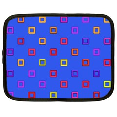 3d Squares On A Blue Background Netbook Case (large) by LalyLauraFLM