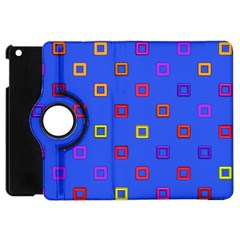 3d Squares On A Blue Background Apple Ipad Mini Flip 360 Case by LalyLauraFLM
