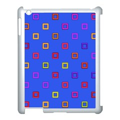 3d Squares On A Blue Background Apple Ipad 3/4 Case (white) by LalyLauraFLM