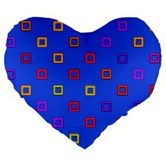 3d Squares On A Blue Background Large 19  Premium Heart Shape Cushion by LalyLauraFLM