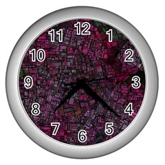 Fantasy City Maps 1 Wall Clocks (silver)  by MoreColorsinLife