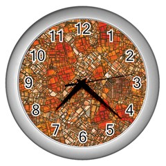 Fantasy City Maps 3 Wall Clocks (silver)  by MoreColorsinLife