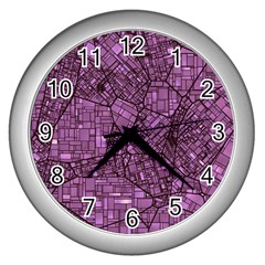 Fantasy City Maps 4 Wall Clocks (silver)  by MoreColorsinLife