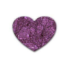 Fantasy City Maps 4 Rubber Coaster (heart)  by MoreColorsinLife