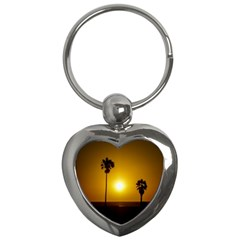 Sunset Scene At The Coast Of Montevideo Uruguay Key Chains (heart)  by dflcprints
