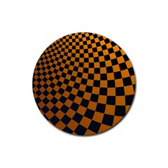 Abstract Square Checkers  Rubber Coaster (round)  by OZMedia