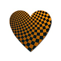 Abstract Square Checkers  Heart Magnet