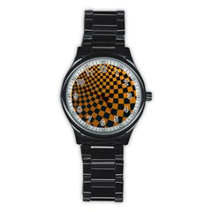 Abstract Square Checkers  Stainless Steel Round Watches by OZMedia