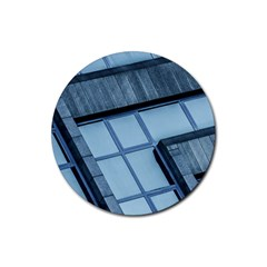 Abstract View Of Modern Buildings Rubber Round Coaster (4 Pack)