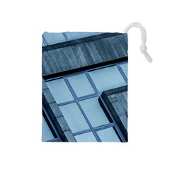 Abstract View Of Modern Buildings Drawstring Pouches (medium)  by OZMedia