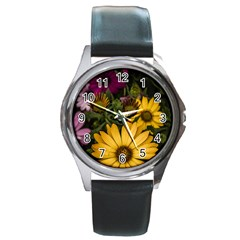 Beautiful Colourful African Daisies  Round Metal Watches
