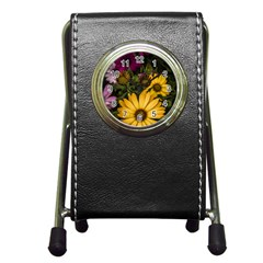 Beautiful Colourful African Daisies  Pen Holder Desk Clocks by OZMedia