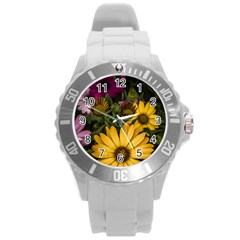 Beautiful Colourful African Daisies  Round Plastic Sport Watch (l) by OZMedia