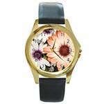 Beautiful Colourful African Daisies Round Gold Metal Watches Front