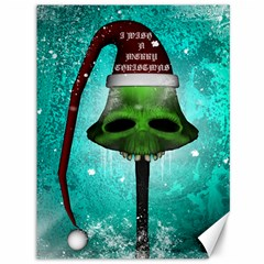 I Wish You A Merry Christmas, Funny Skull Mushrooms Canvas 36  X 48   by FantasyWorld7