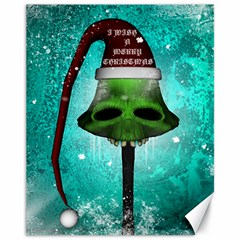 I Wish You A Merry Christmas, Funny Skull Mushrooms Canvas 11  X 14   by FantasyWorld7
