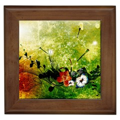 Awesome Flowers And Lleaves With Dragonflies On Red Green Background With Grunge Framed Tiles