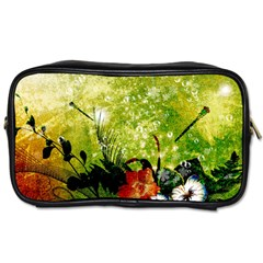 Awesome Flowers And Lleaves With Dragonflies On Red Green Background With Grunge Toiletries Bags