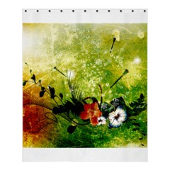 Awesome Flowers And Lleaves With Dragonflies On Red Green Background With Grunge Shower Curtain 60  X 72  (medium)