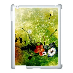 Awesome Flowers And Lleaves With Dragonflies On Red Green Background With Grunge Apple Ipad 3/4 Case (white)