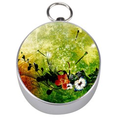 Awesome Flowers And Lleaves With Dragonflies On Red Green Background With Grunge Silver Compasses by FantasyWorld7