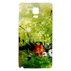 Awesome Flowers And Lleaves With Dragonflies On Red Green Background With Grunge Galaxy Note 4 Back Case by FantasyWorld7