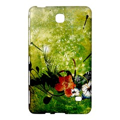 Awesome Flowers And Lleaves With Dragonflies On Red Green Background With Grunge Samsung Galaxy Tab 4 (7 ) Hardshell Case  by FantasyWorld7