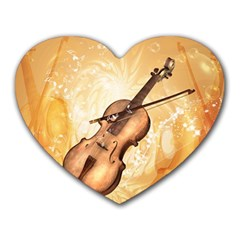 Wonderful Violin With Violin Bow On Soft Background Heart Mousepads