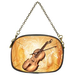 Wonderful Violin With Violin Bow On Soft Background Chain Purses (one Side)  by FantasyWorld7