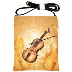 Wonderful Violin With Violin Bow On Soft Background Shoulder Sling Bags by FantasyWorld7