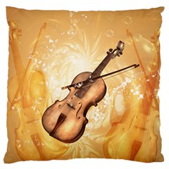 Wonderful Violin With Violin Bow On Soft Background Large Flano Cushion Cases (one Side)  by FantasyWorld7