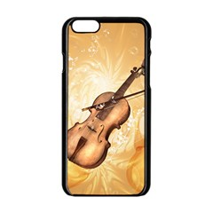 Wonderful Violin With Violin Bow On Soft Background Apple Iphone 6/6s Black Enamel Case