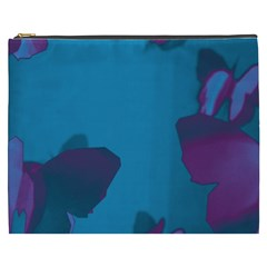Purple And Turquoise Butterflies Cosmetic Bag (xxxl)