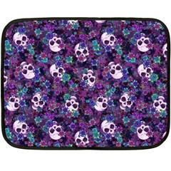 Flowers And Skulls Mini Fleece Blanket (single Sided)