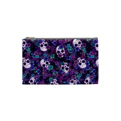 Flowers And Skulls Cosmetic Bag (small) by Ellador