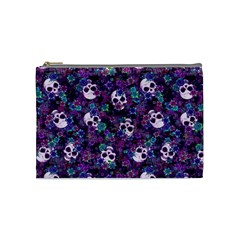 Flowers And Skulls Cosmetic Bag (medium) by Ellador