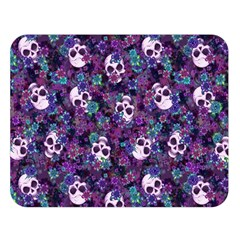 Flowers And Skulls Double Sided Flano Blanket (large)