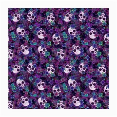 Flowers And Skulls Glasses Cloth (medium, Two Sided)