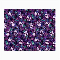 Flowers And Skulls Glasses Cloth (small, Two Sided)
