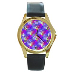 Rainbow Led Zeppelin Symbols Round Leather Watch (gold Rim)  by SaraThePixelPixie