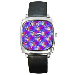 Rainbow Led Zeppelin Symbols Square Leather Watch by SaraThePixelPixie