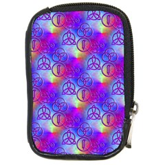 Rainbow Led Zeppelin Symbols Compact Camera Leather Case by SaraThePixelPixie