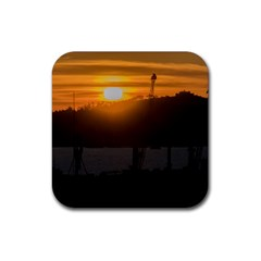 Aerial View Sunset Scene Of Montevideo Uruguay Rubber Square Coaster (4 Pack)  by dflcprints