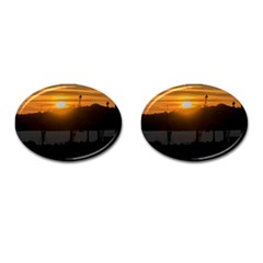Aerial View Sunset Scene Of Montevideo Uruguay Cufflinks (oval) by dflcprints