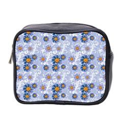 Blue Floral Mini Travel Toiletry Bag (two Sides) by 4SeasonsDesigns