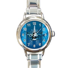 Surf, Surfboard With Water Drops On Blue Background Round Italian Charm Watches by FantasyWorld7