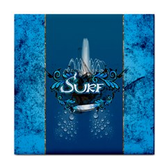Surf, Surfboard With Water Drops On Blue Background Tile Coasters by FantasyWorld7