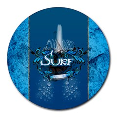 Surf, Surfboard With Water Drops On Blue Background Round Mousepads by FantasyWorld7