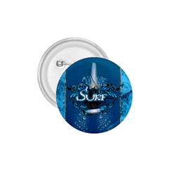 Surf, Surfboard With Water Drops On Blue Background 1 75  Buttons by FantasyWorld7