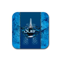 Surf, Surfboard With Water Drops On Blue Background Rubber Coaster (square)  by FantasyWorld7